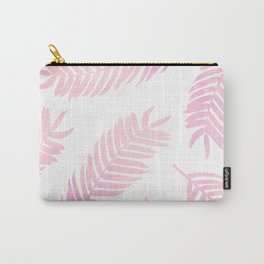 Pink Palm Leaves  |  White Background Carry-All Pouch