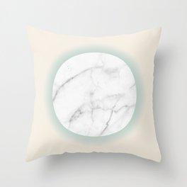 White Marble Circle Pastel Yellow Green Gradient Throw Pillow