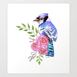 Blue Jay on a floral branch watercolor bird painting Art Print