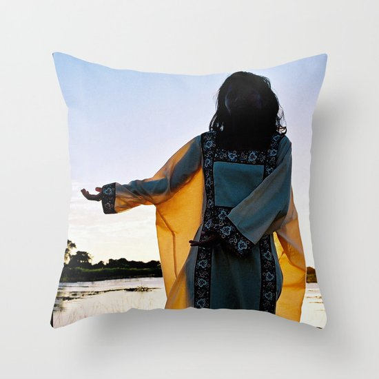 WAYUU YOUNG NATIVE LADY Throw Pillow