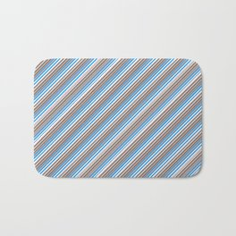 Blue Grey White Inclined Stripes Bath Mat