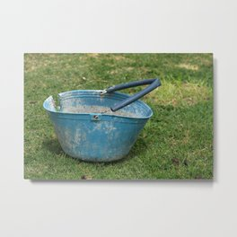 Old Blue Bucket in a Field Metal Print