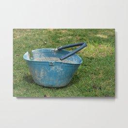 Old Blue Bucket in a Field Metal Print