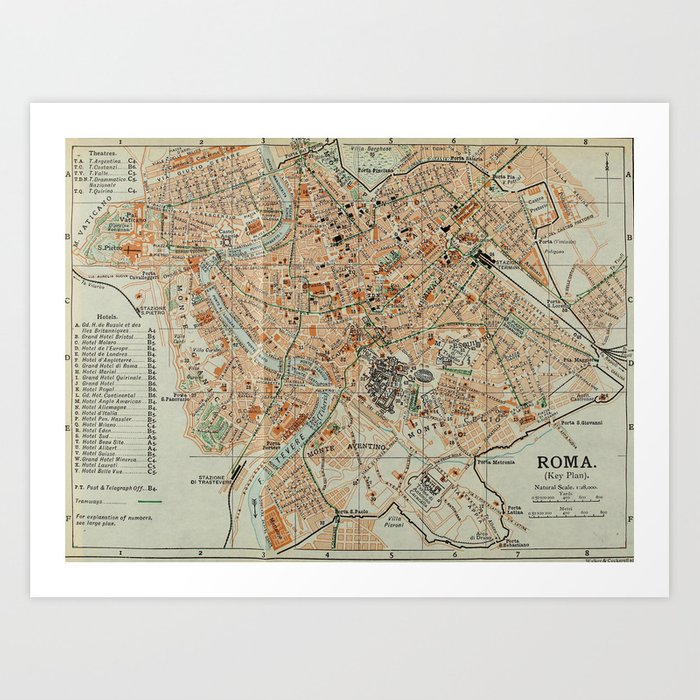 graphic regarding Printable Maps of Italy named Traditional Map of Rome Italy (1911) Artwork Print as a result of bravuramedia