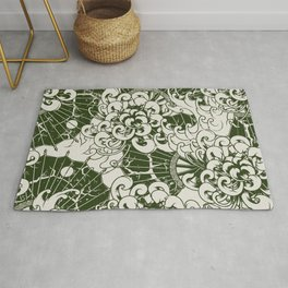 Green and Cream Japanese stylish pastel colors illustration pattern for home decoration Rug