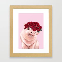 Baby Pig with Rose Flower Crown in Pink Framed Art Print