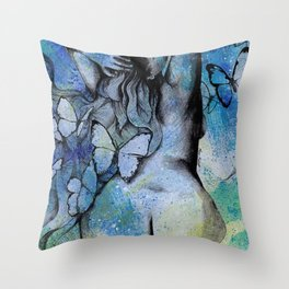 Sugar Coated Sour (nude curvy pin up with butterflies) Throw Pillow