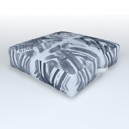 Simply Ikat Ink in Indigo Blue on Sky Blue Outdoor Floor Cushion