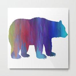 Rainbow Watercolor Dripping Bear Metal Print