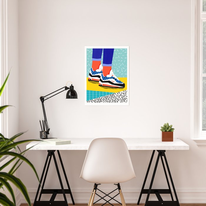 Super Fire - retro sneakers, throwback, memphis, fashion, shoes, sneakers, Poster