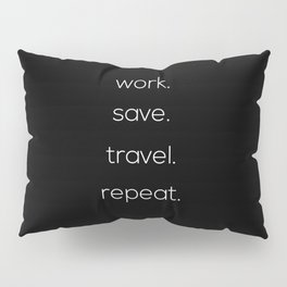 Work, Save, Travel, Repeat Pillow Sham