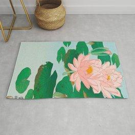 Ohara Koson Water Lilies 1920 Japanese Woodblock Print Vintage Historical Japanese Art Rug