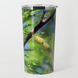 Closeup of Avocado Green Mesquite Tree Catkins Travel Mug