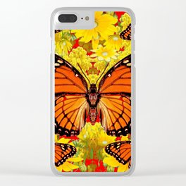 VICEROY BUTTERFLIES & YELLOW FLOWERS RED ART Clear iPhone Case