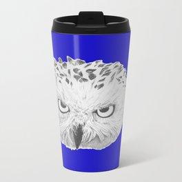 Snowy Owl Bright Blue Metal Travel Mug