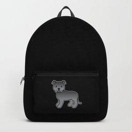 Blue English Staffordshire Bull Terrier Cartoon Dog Backpack