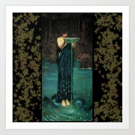 Circe Invidiosa on a background of leaves Art Print