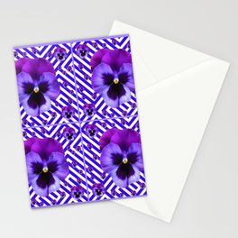 DECORATIVE LILAC PURPLE PANSIES  FLOWERS Stationery Cards