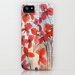 Summer Irises and blossoms iPhone Case
