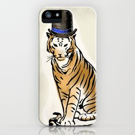 Tiger with Dashing Hat:  Having Fun with Vintage Graphics iPhone Case