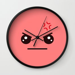 ANGRY! Kawaii Face (Check Out The Mugs!) Wall Clock