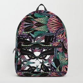 Modern Girly Coral Purple Floral Drawings Backpack