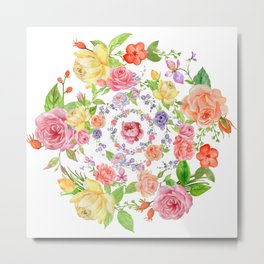 Bouquet of PINK, YELLOW AND ORANGE rose - wreath Metal Print