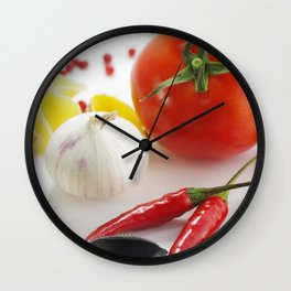 Pasta and their ingredients  Wall Clock
