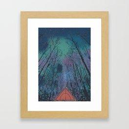 Camp Vibes Screenprint of Tent Under the Stars Framed Art Print