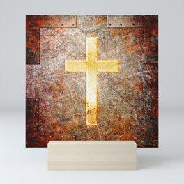 Gold Cross on Rusted Metal Plate Mini Art Print