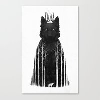 white Canvas Prints featuring The Wolf King by Dan Burgess