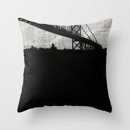 Paper City, Newspaper Bridge Collage Throw Pillow