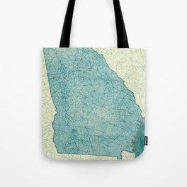 Georgia Map Blue Vintage Tote Bag