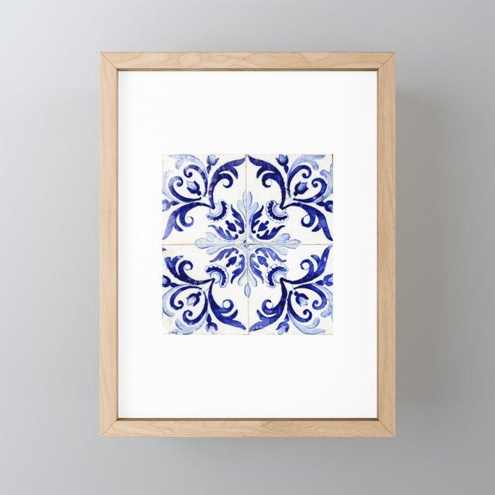 Azulejo V - Portuguese hand painted tiles Framed Mini Art Print