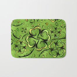Irish Shamrock Four-leaf Lucky Clover Pattern Bath Mat