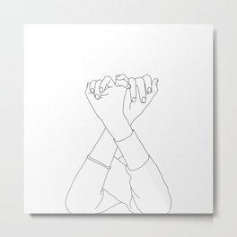 Line drawing illustration of linked fingers - Aisha Metal Print