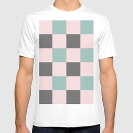 Contemporary Mint Pink Gray Gingham Pattern-Mix and Match T-shirt