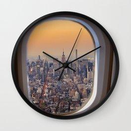 New York skyline from airplane window Wall Clock