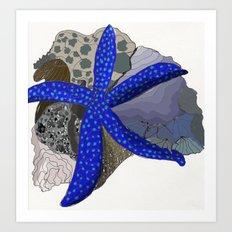 starfish + coral Art Print