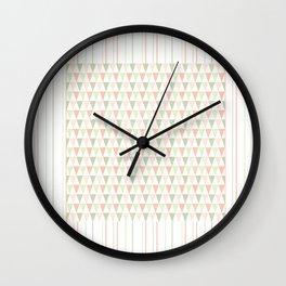 Modern pastel orange green triangles stripes pattern Wall Clock