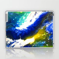 Abstract Art Drip Painting Blue, White ,Yellow Laptop & iPad Skin