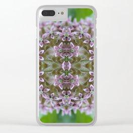 Kaleidoscope Pink Milkweed Flower Macro Photograph Clear iPhone Case