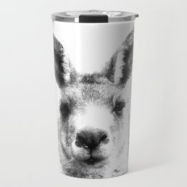 Black and white kangaroo Travel Mug