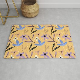 Colorful floral Cut Out Flowers and Leaves Yellow Rug