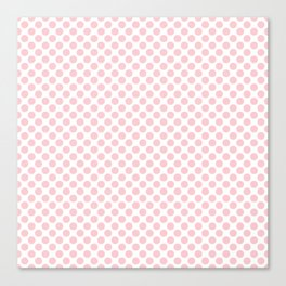 Large Millennial Pink Pastel Round Spots On White Canvas Print