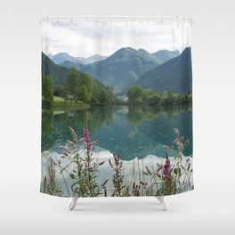Mountain reflection  on lake Shower Curtain