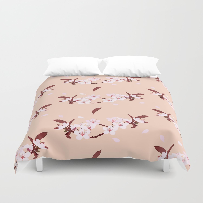 sakura flowers on peach background duvet cover by jud3030 society6 society6