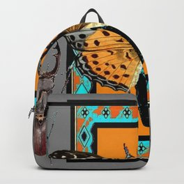 CONTEMPORARY  BUTTERFLY GREY STAG-HORNED BEETLES Backpack
