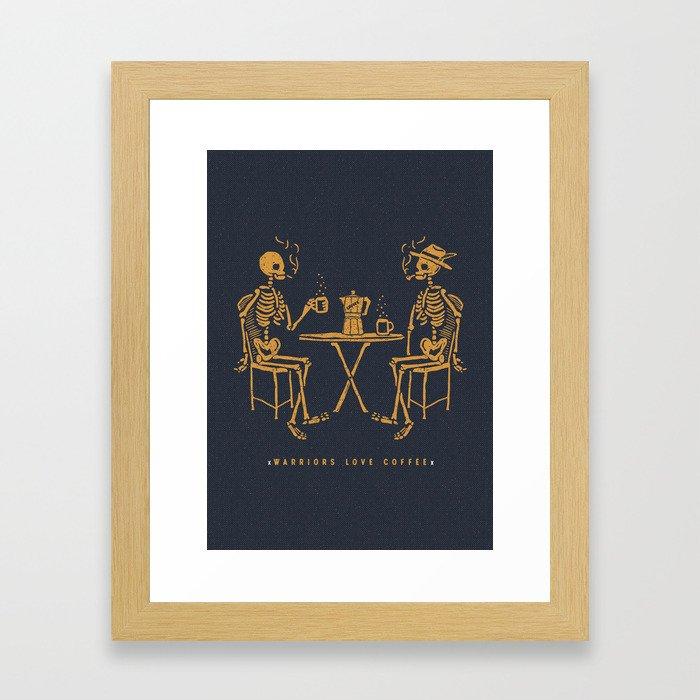 Warriors Love Coffee Framed Art Print