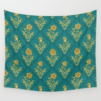 damask Wall Tapestries featuring Damask Rose by Paula Belle Flores